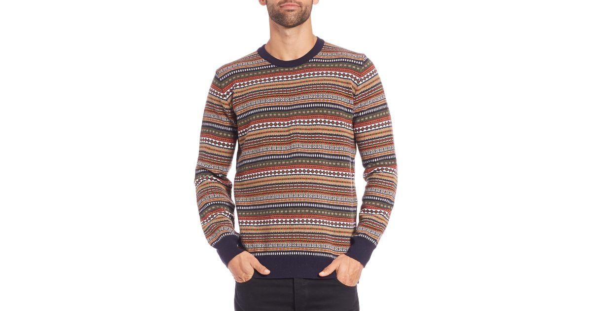 Barbour Easton Fair Isle Crewneck Sweater for Men   Lyst