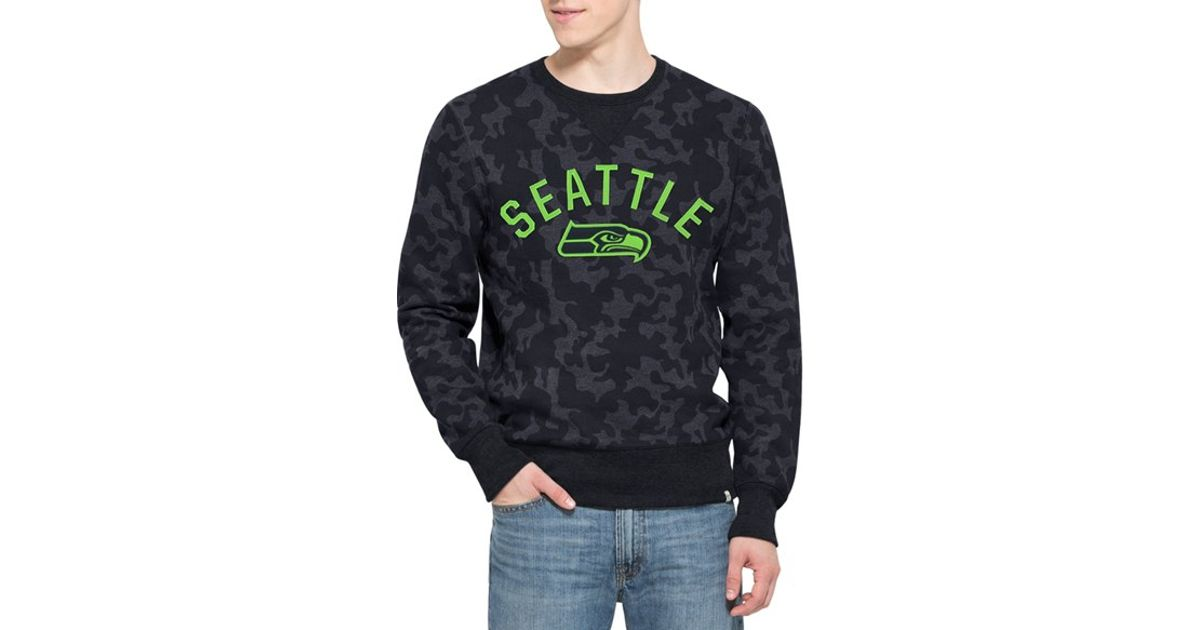 Men's Seattle Seahawks '47 Gray Stealth Camo Raglan Long Sleeve T-Shirt