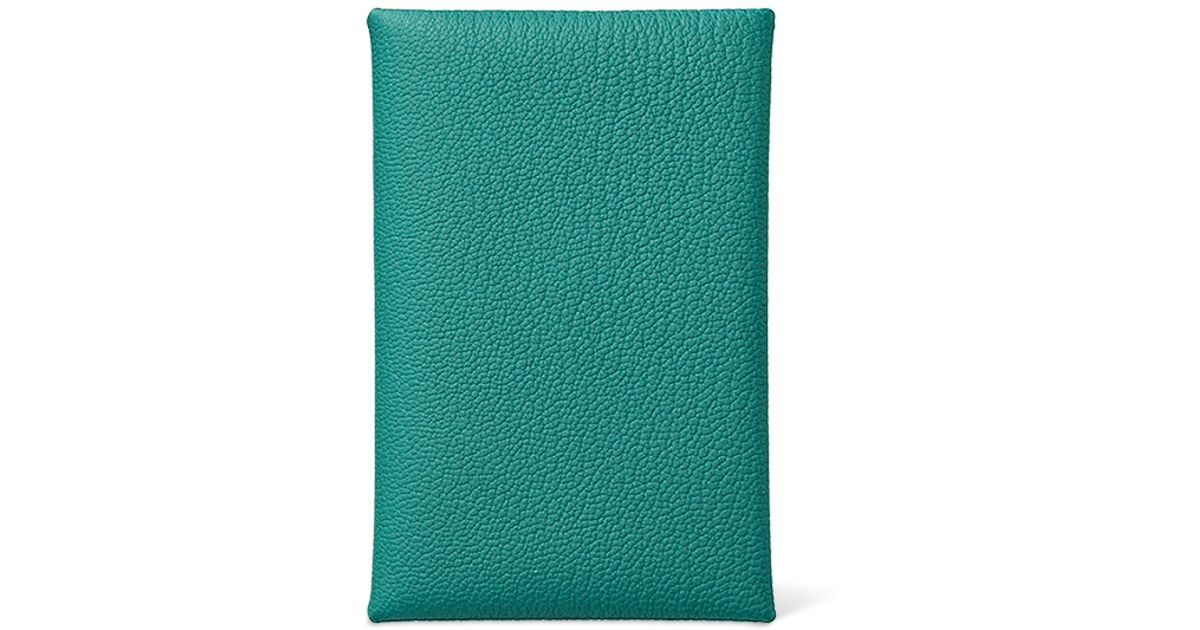 mens birkin bag - Herm��s Calvi in Green (peacock blue) | Lyst