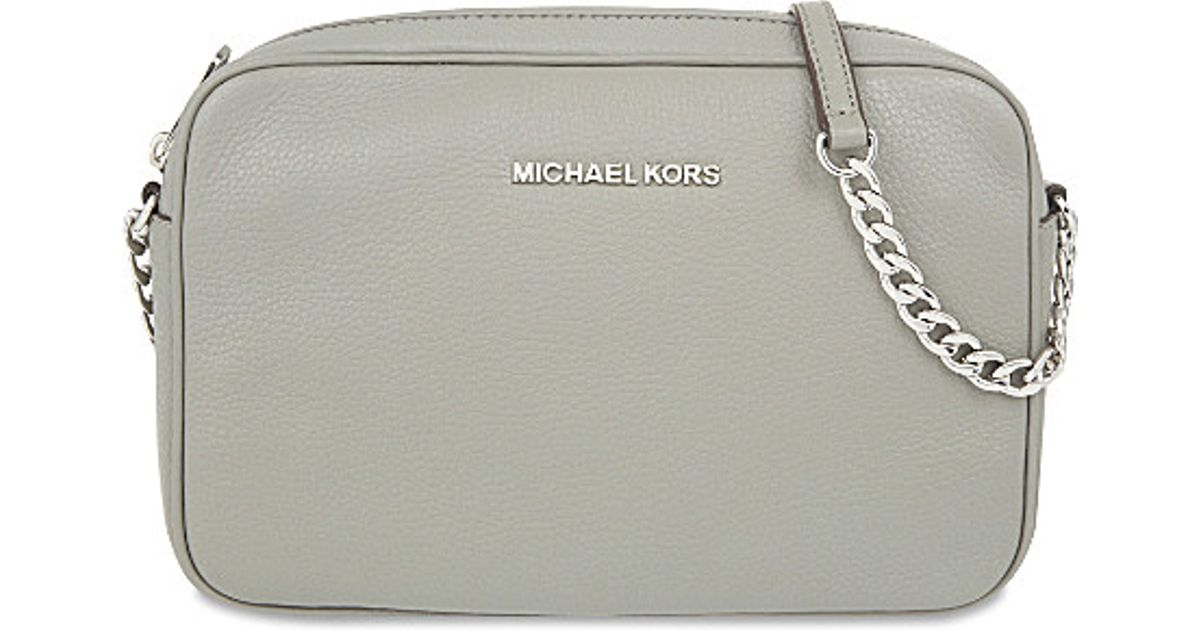 78851e67d2 ... authentic michael michael kors bedford large leather cross body bag in gray  lyst 9934b f8327