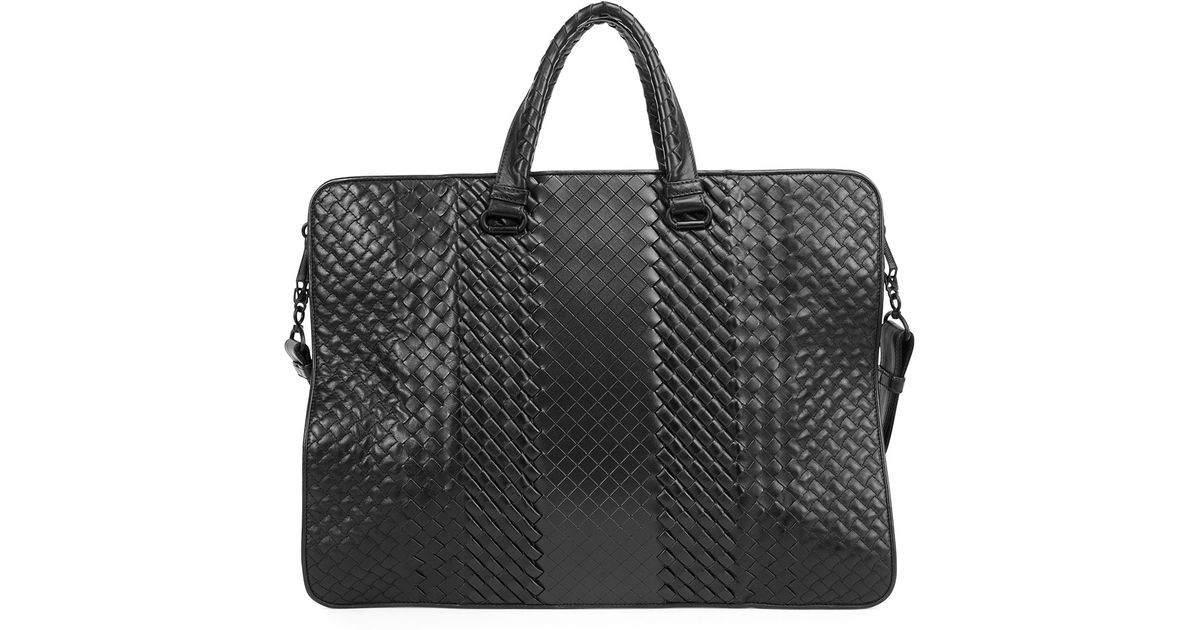 573dbe8af354 Lyst - Bottega Veneta Intrecciato Leather Computer Case in Black