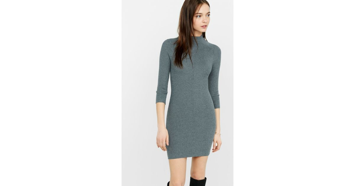 846e78c13e Lyst - Express Mock Neck Engineered Rib Sweater Dress in Gray
