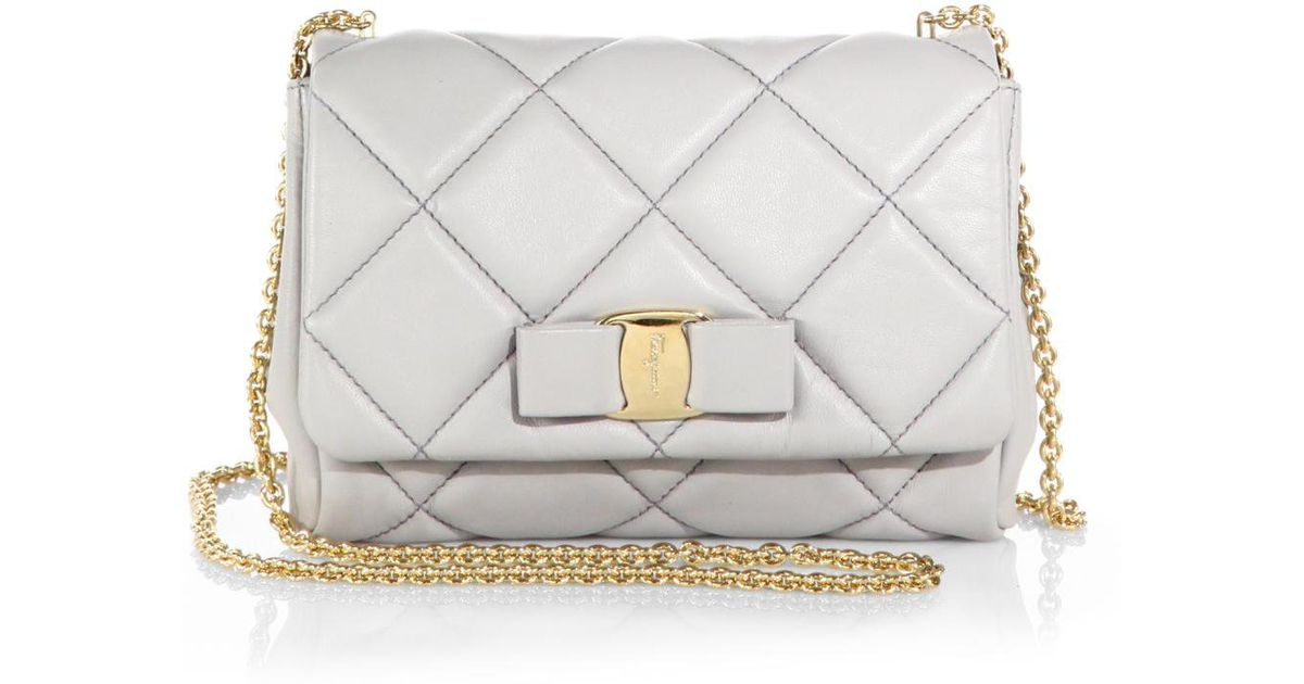 6fe3d71904e2 Lyst - Ferragamo Mini Ginny Quilted-leather Crossbody Bag in Gray
