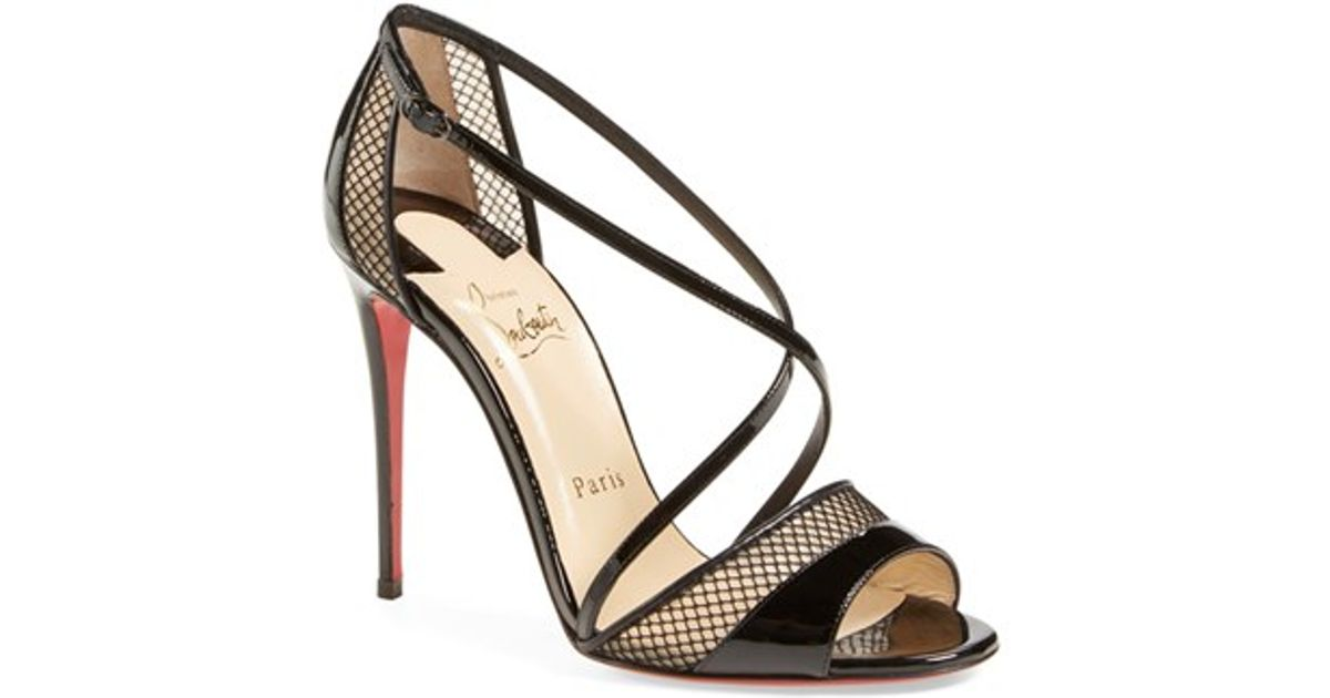 fake louboutin shoes - Christian louboutin Slikova Open-Toe Leather Sandals in Black ...
