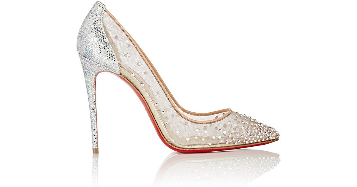 mens christian louboutin loafers - Christian louboutin Follies Strass Crystal-Embellished Mesh Pumps ...