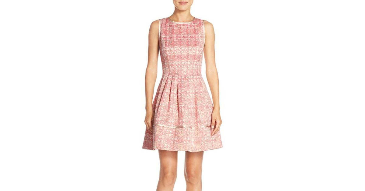 Lyst Vince Camuto Metallic Jacquard Fit Amp Flare Dress In