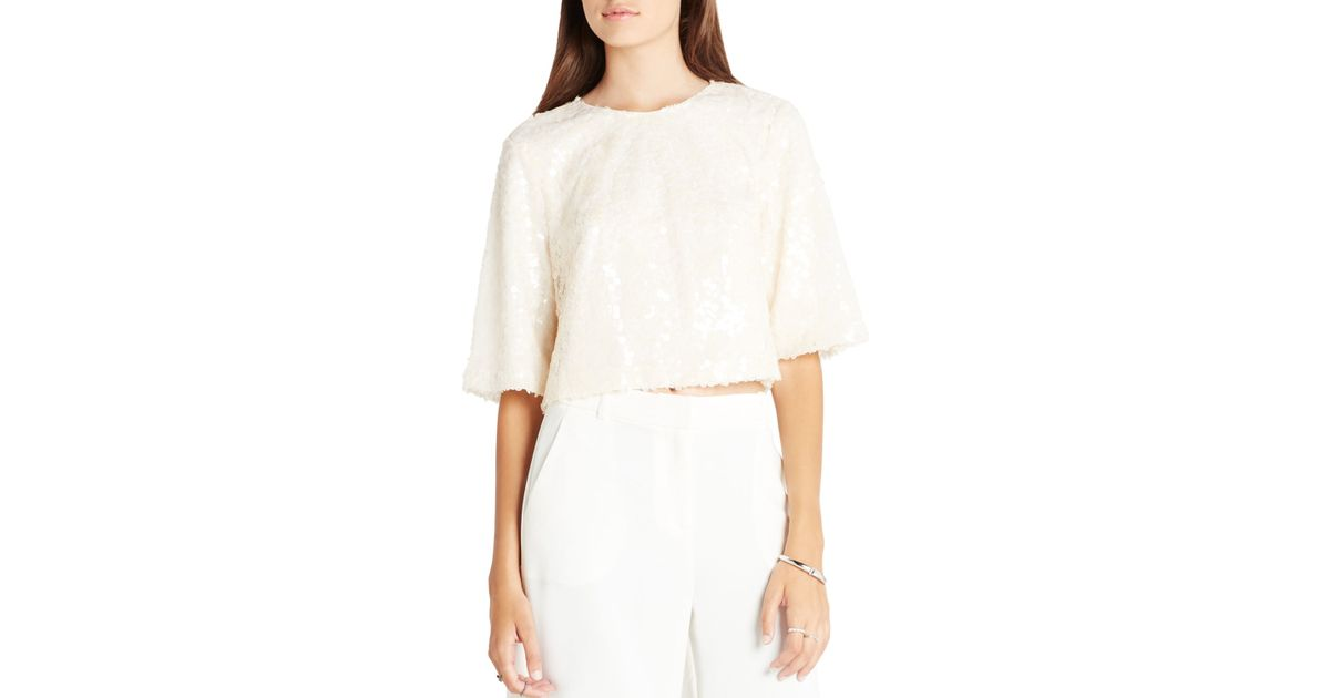 1df034f19116d Lyst - BCBGeneration Boxy Zip Back Top in White