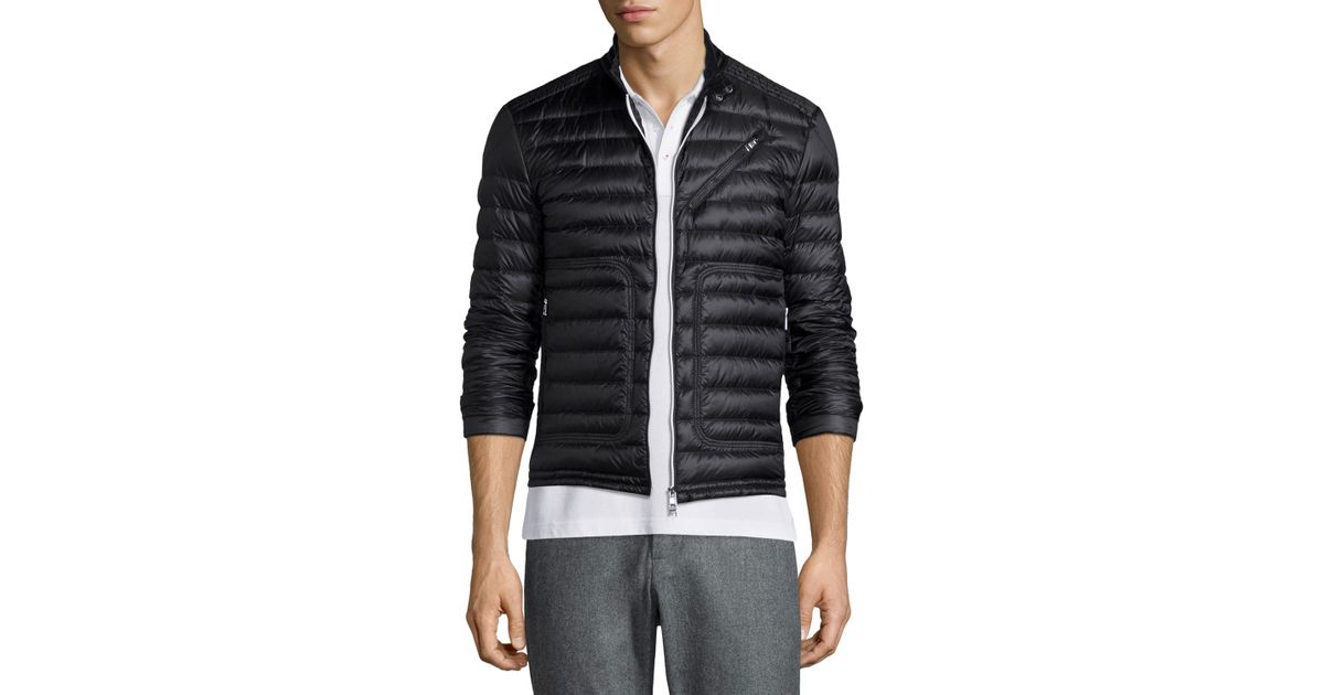 b2a5b0d5d Moncler Picard Quilted Nylon Moto Jacket in Black for Men - Lyst