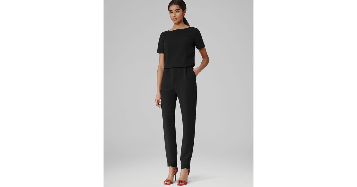 feac7a1d29 Reiss Jumpsuit Link Short Sleeve Button Back in Black - Lyst