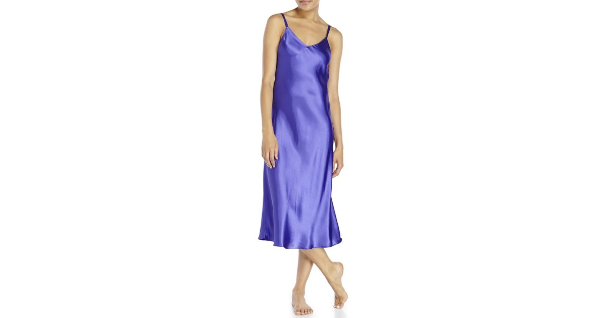 Lyst - Jones New York Purple Satin Nightgown in Blue