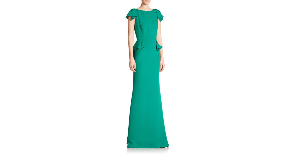 Lyst - Carolina Herrera Stretch-silk Georgette Peplum Gown in Green