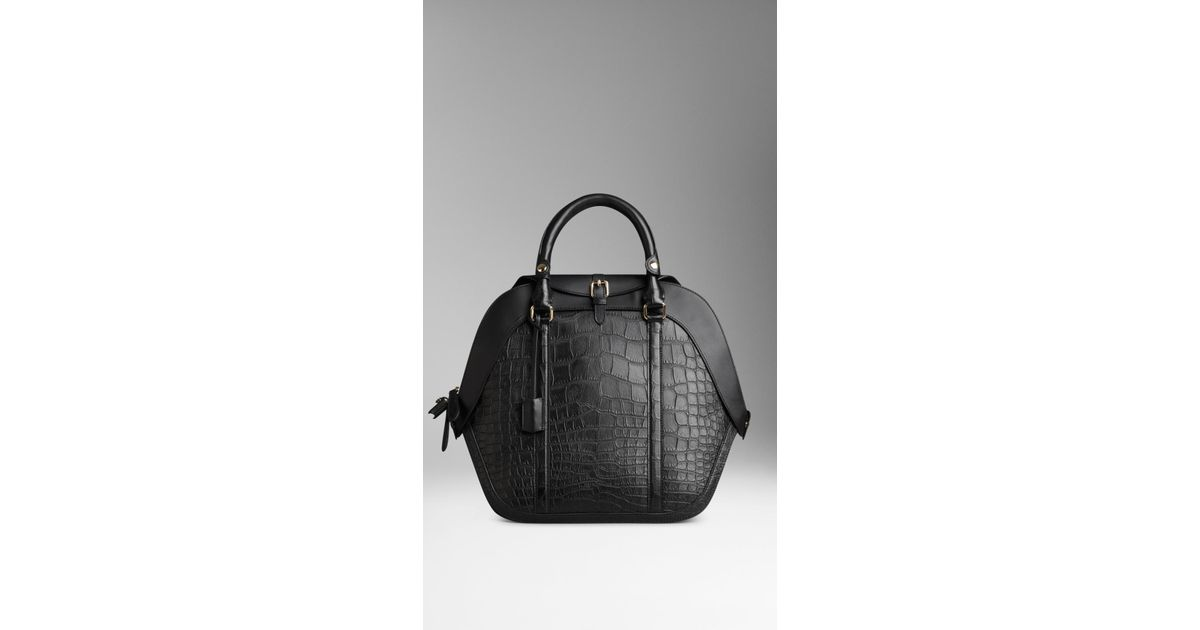 53beab3bec80 Lyst - Burberry The Medium Orchard in Alligator Leather in Black