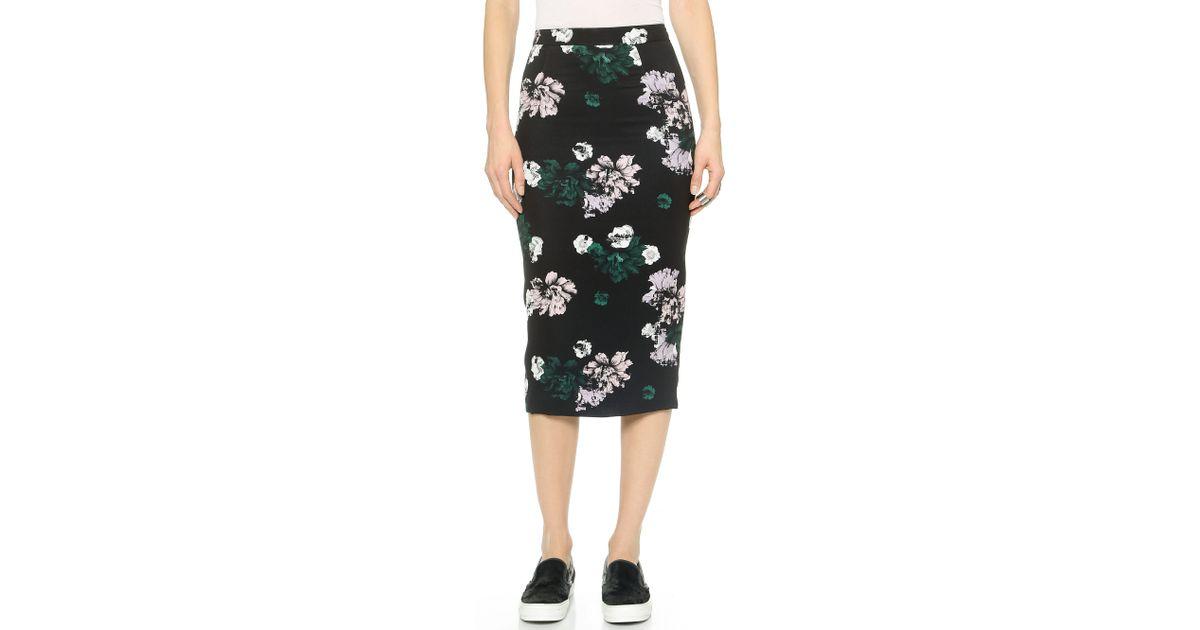 A.l.c. Midi Floral Pencil Skirt in Black | Lyst