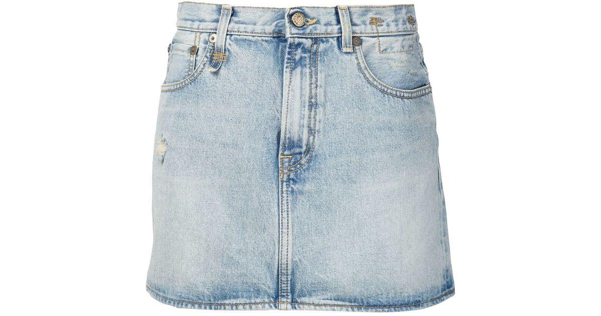 r13 denim mini skirt in blue lyst