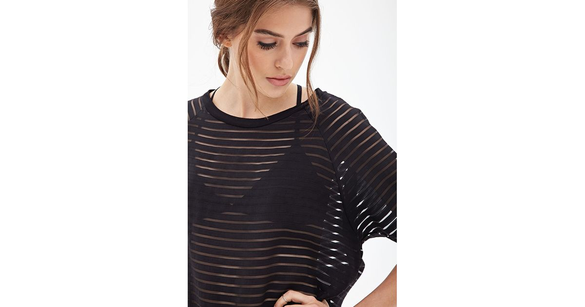 2929d2c7e885e Lyst - Forever 21 Boxy Shadow Striped Top in Black
