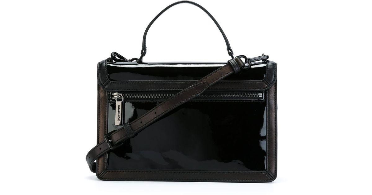 92c333aa9cc4 Lyst - MICHAEL Michael Kors Callie Patent-Leather Cross-Body Bag in Black