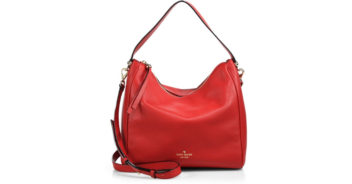 Lyst - Kate Spade New York Charles Street Small Haven Hobo Bag in Red 30200aacb3bd0