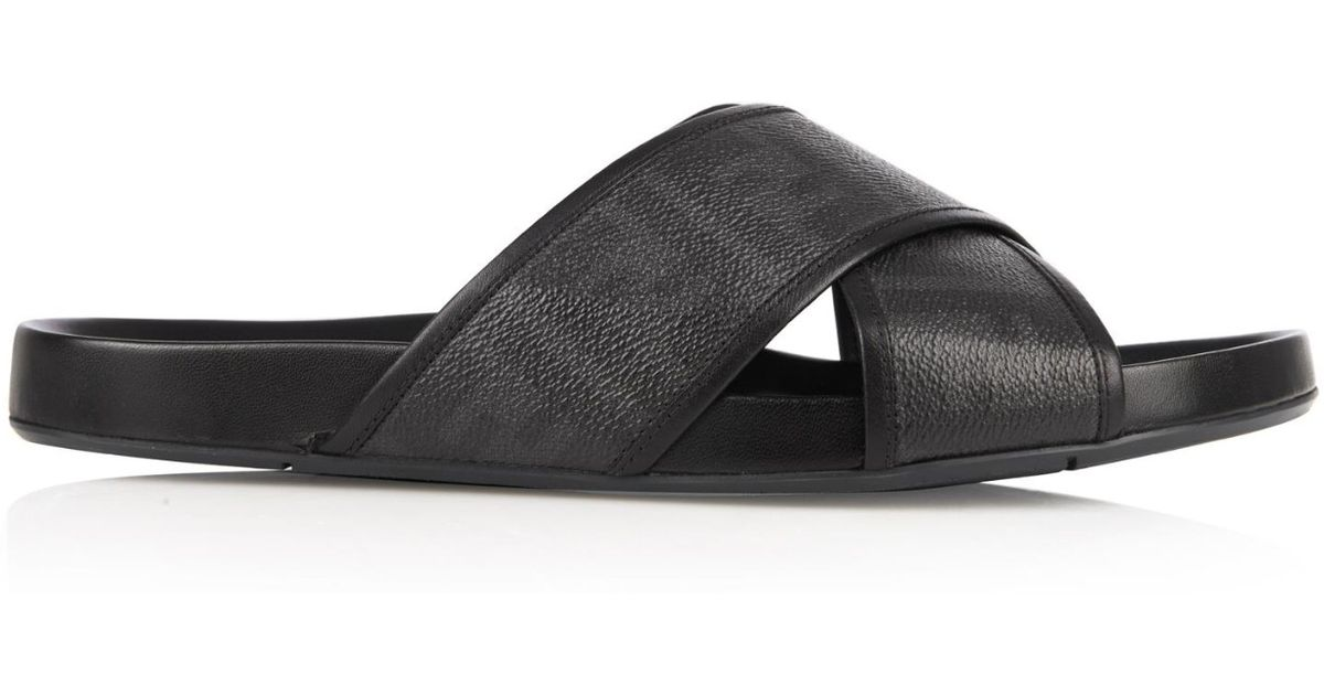 349afb1671dd Lyst - Fendi Logo Leather Slides in Black for Men