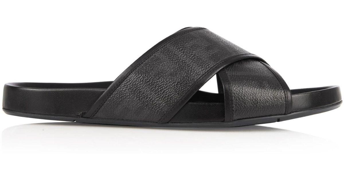 fb9357d47484e3 Lyst - Fendi Logo Leather Slides in Black for Men
