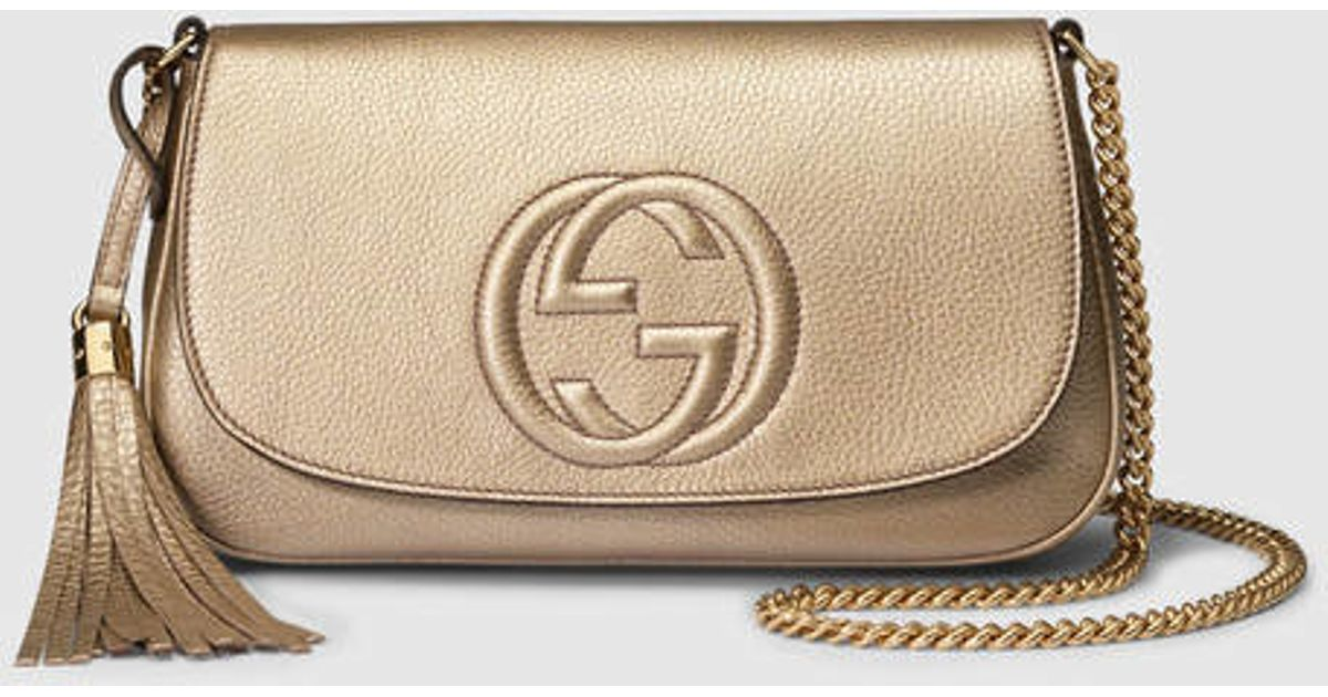 a08e40fe7e7d Gucci Soho Metallic Leather Shoulder Bag in Metallic - Lyst