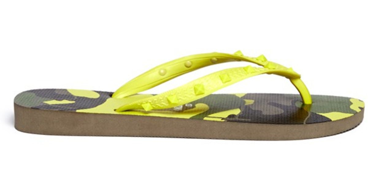 c8732639a41c Lyst - Valentino X Havaianas Studded Flip Flops in Yellow for Men