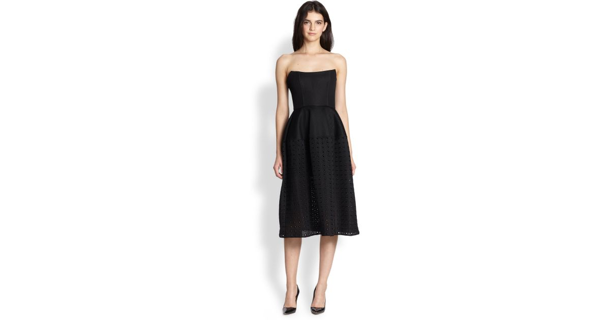 Lyst Nicholas Embellished Mesh Strapless Dress In Black