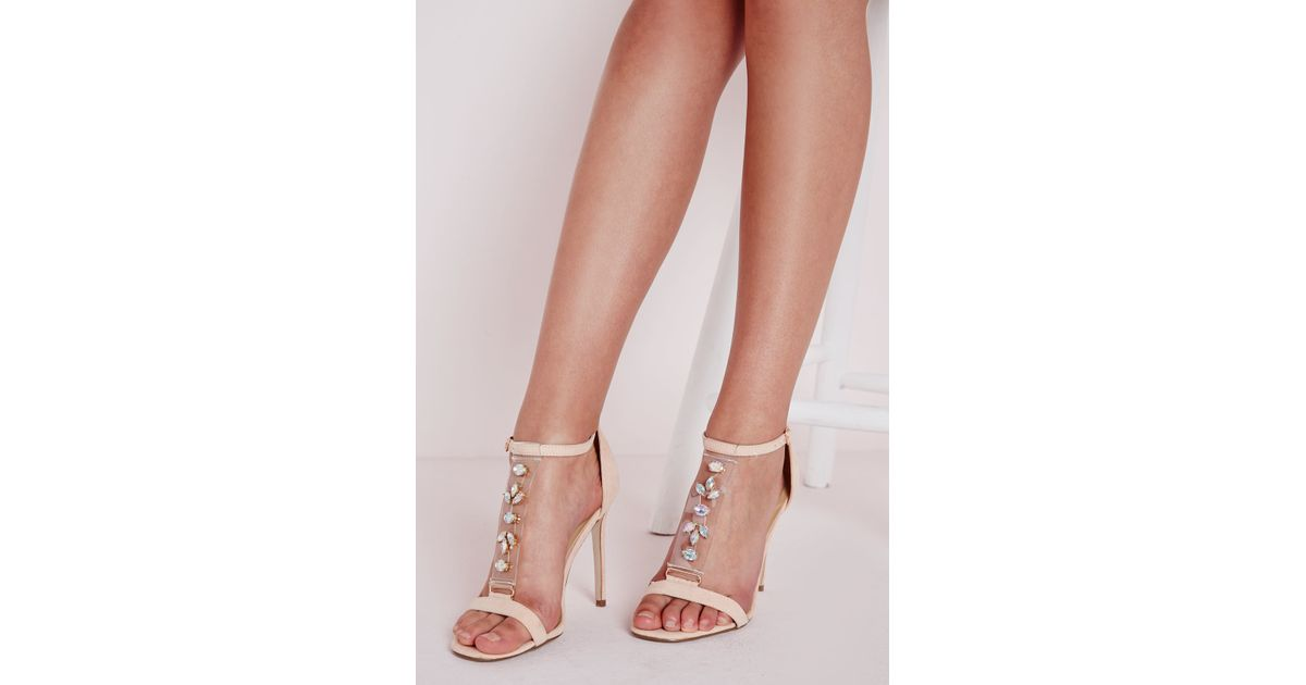 5934c696333 Missguided Jewelled Perspex T Bar Heeled Sandal Blush in Pink - Lyst