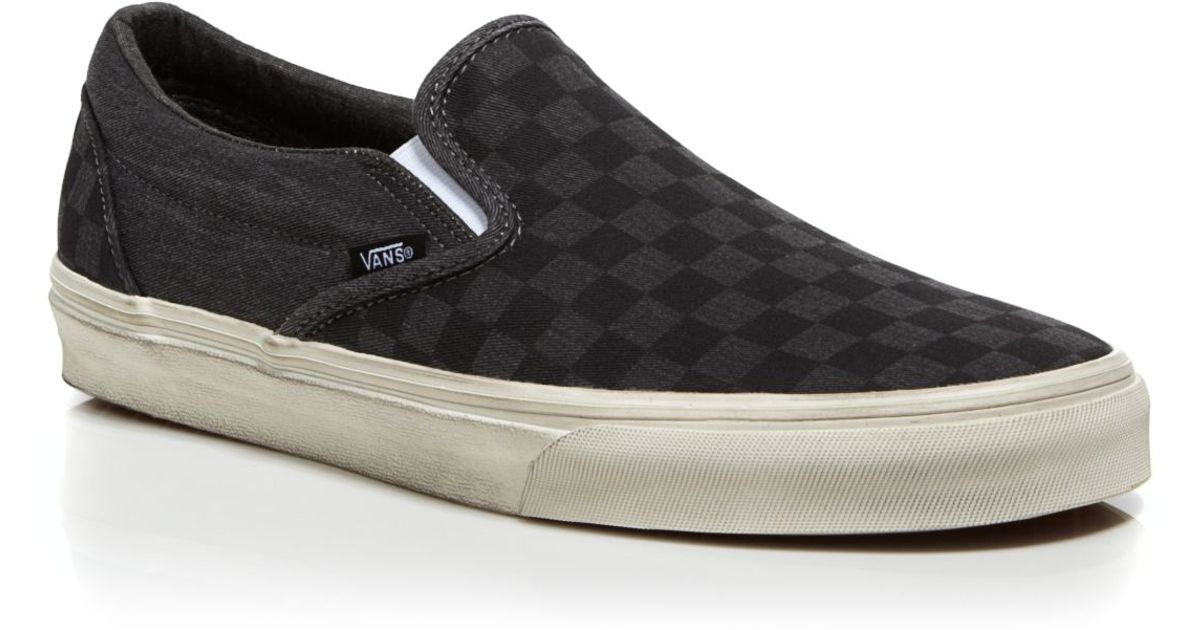 30c85cebc73 Lyst - Vans Classic Overwashed Checker Slip On Sneakers in Black for Men