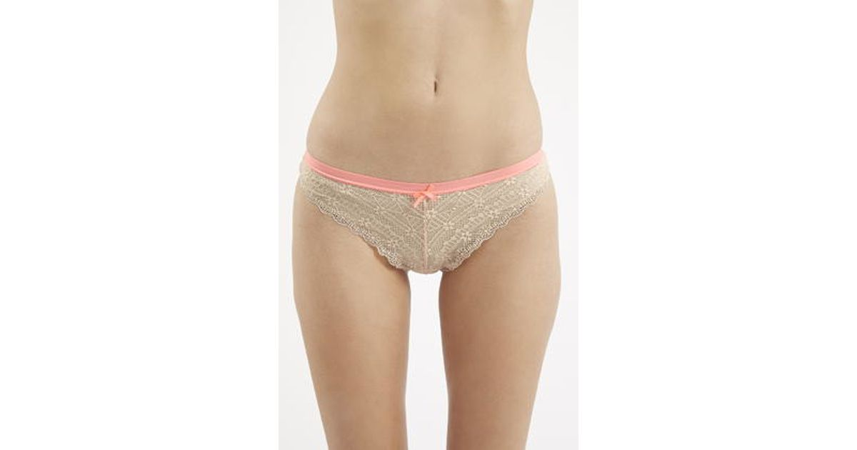 45bff2029a3b TOPSHOP Lace Brazilian Panties in Natural - Lyst