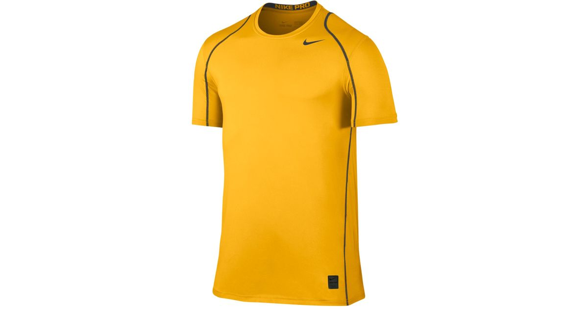 bee44453 Nike Men's Pro Cool Fitted Dri-fit Shirt in Yellow for Men - Lyst