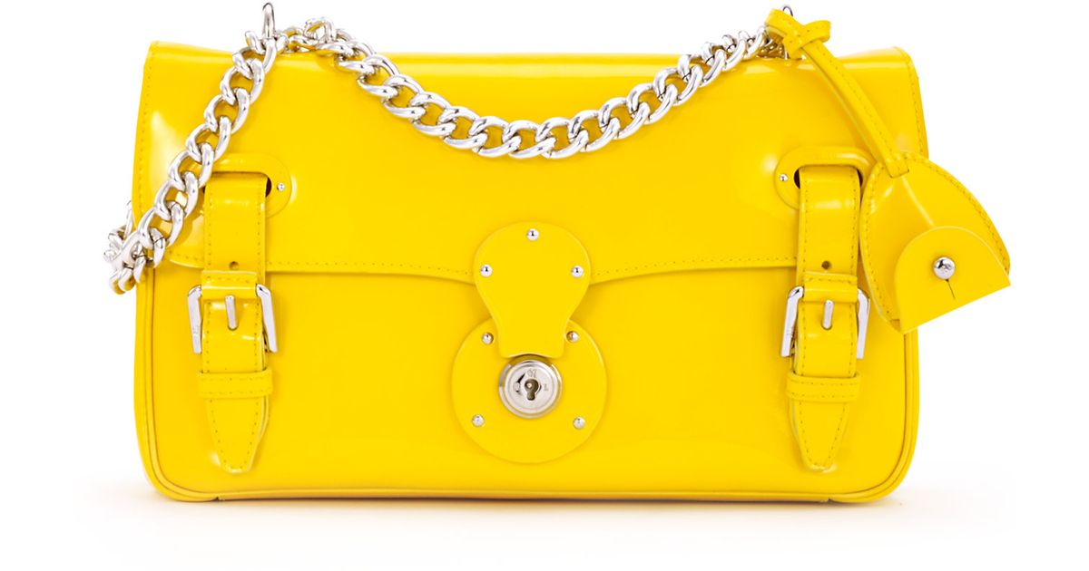 1a2de42d18 ... best price lyst ralph lauren ricky chain bag in yellow 7155e 777d6
