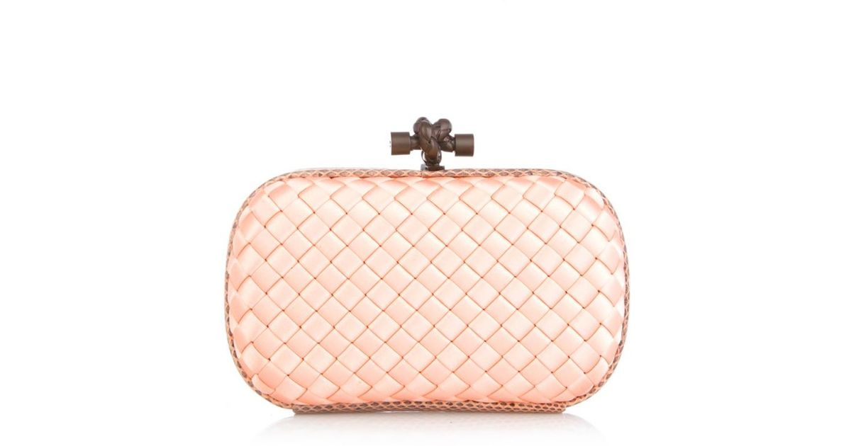 22aacfd37f Lyst - Bottega Veneta Knot Satin And Watersnake Clutch in Pink