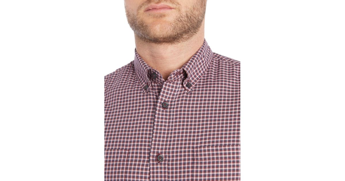sisley men small check long sleeve classic fit shirt in purple for men lyst check small