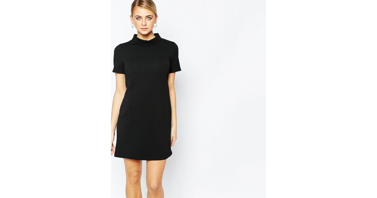 Fashion Union Textured T Shirt Dress With Funnel Neck In Black Save 53 Lyst
