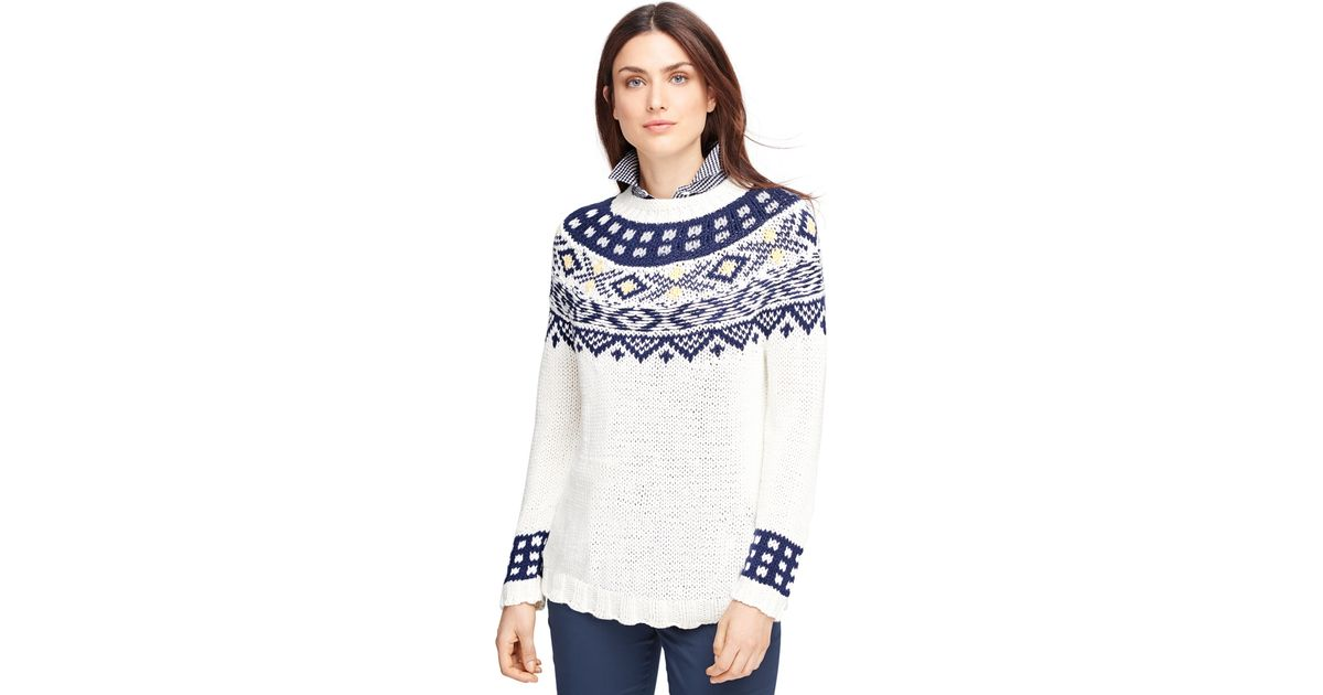 Lyst - Brooks brothers Supima® Cotton Fair Isle Sweater in White