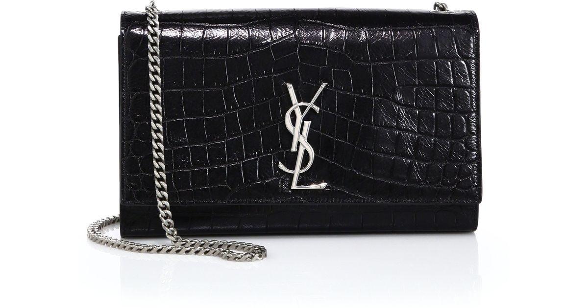 yves saint laurent monogram croc-embossed leather clutch