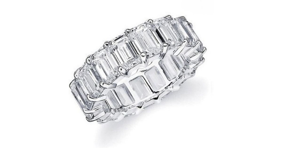 peermont white gold emerald cut cz eternity ring in silver