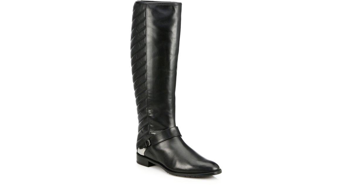 2b65060eee1 Lyst - Stuart Weitzman Raceway Leather Kneehigh Riding Boots in Black