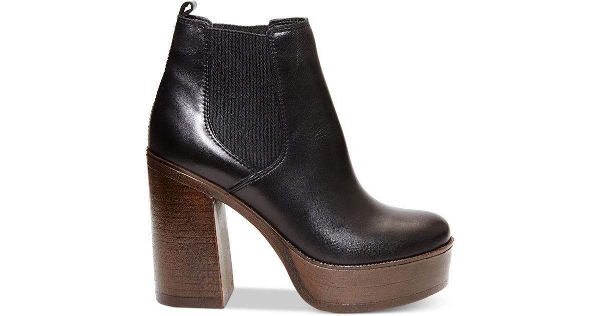 Steve madden Women's Geanna Chunky Heel Platform Booties in Black ...