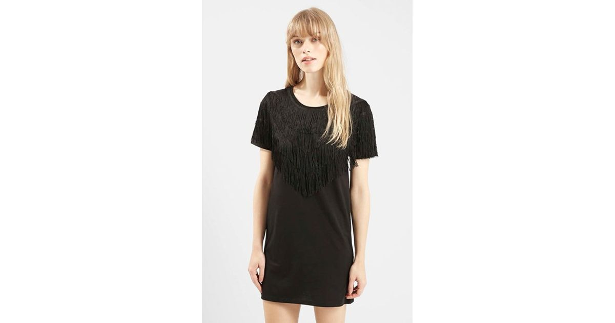 80b699d6662e3 TOPSHOP Fringe T-shirt Tunic in Black - Lyst