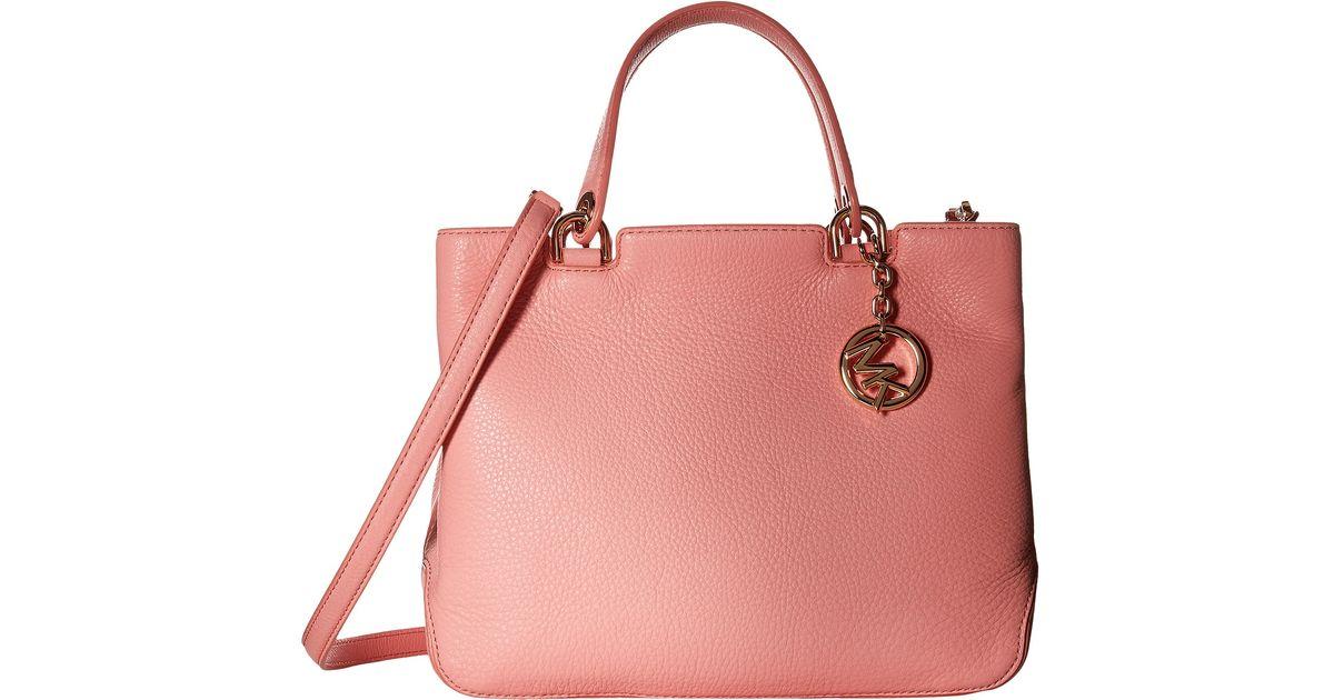 daf6c03ccf8f3 Lyst - MICHAEL Michael Kors Jet Set Snap Pocket Leather Tote Bag in Pink