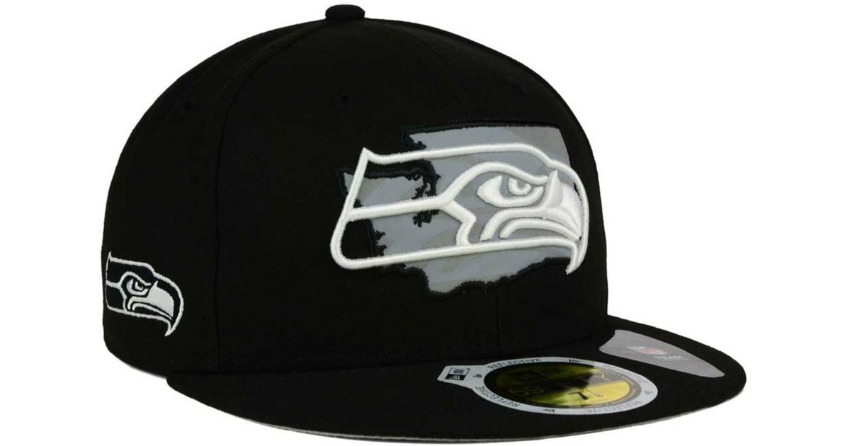 0b880467b5d ... canada lyst ktz seattle seahawks state flective redux 59fifty cap in  black for men 9fbfb 38bd8