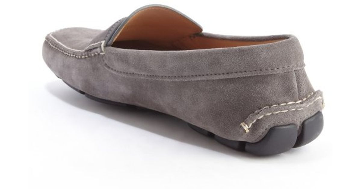 ... new zealand lyst prada grey suede penny strap slip on loafers in gray  for men b2c23 50ccec825