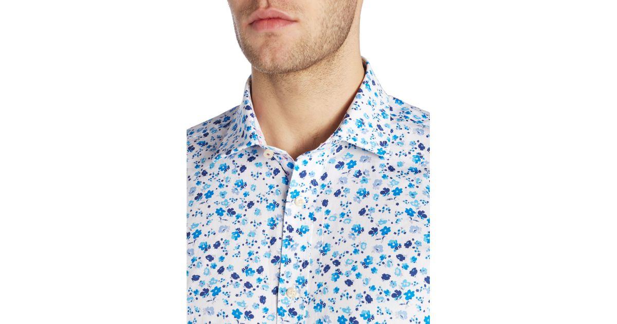 Ted baker hampshi floral shirt in blue for men lyst for Blue floral shirt mens