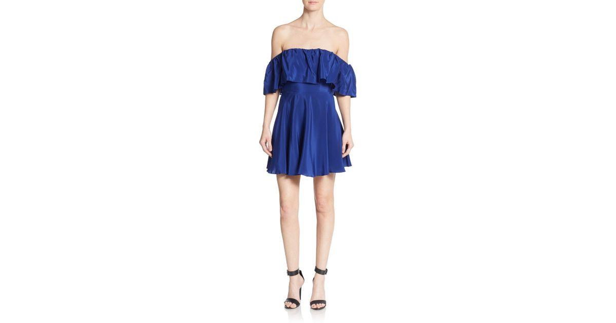 daefa780913c Lyst - Amanda Uprichard Delilah Silk Off-the-shoulder Dress in Blue