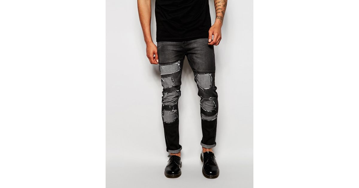 63eeabf5d6b Cheap Monday Jeans Tight Skinny Fit Innocence Black Extreme Distress Repair  in Black for Men - Lyst
