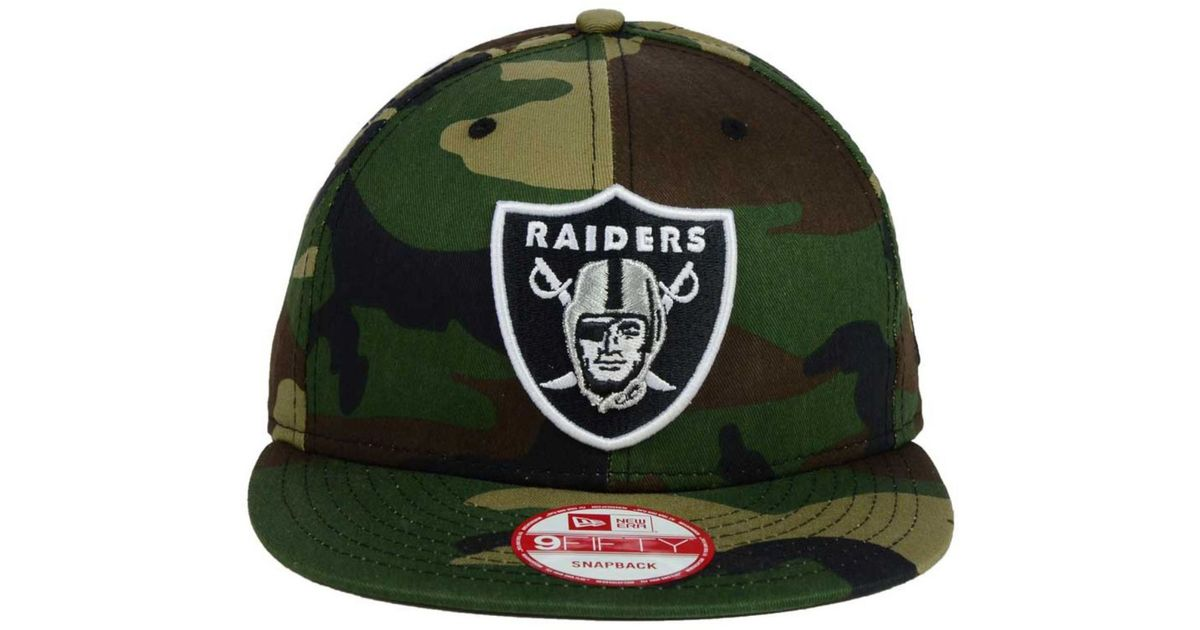 Lyst - KTZ Oakland Raiders Woodland Camo Team Color 9Fifty Snapback Cap in  Green for Men 8191f86b648