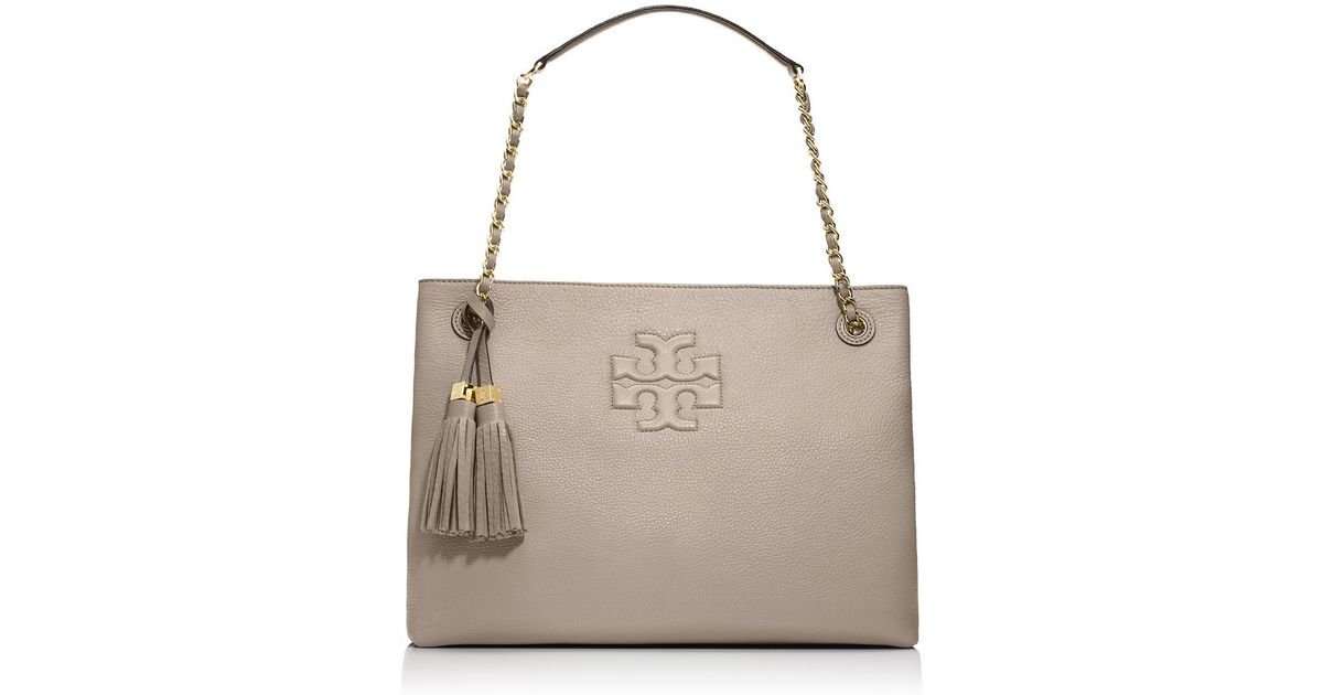 554c0230520 Lyst - Tory Burch Thea Chain Shoulder Slouchy Tote in Gray