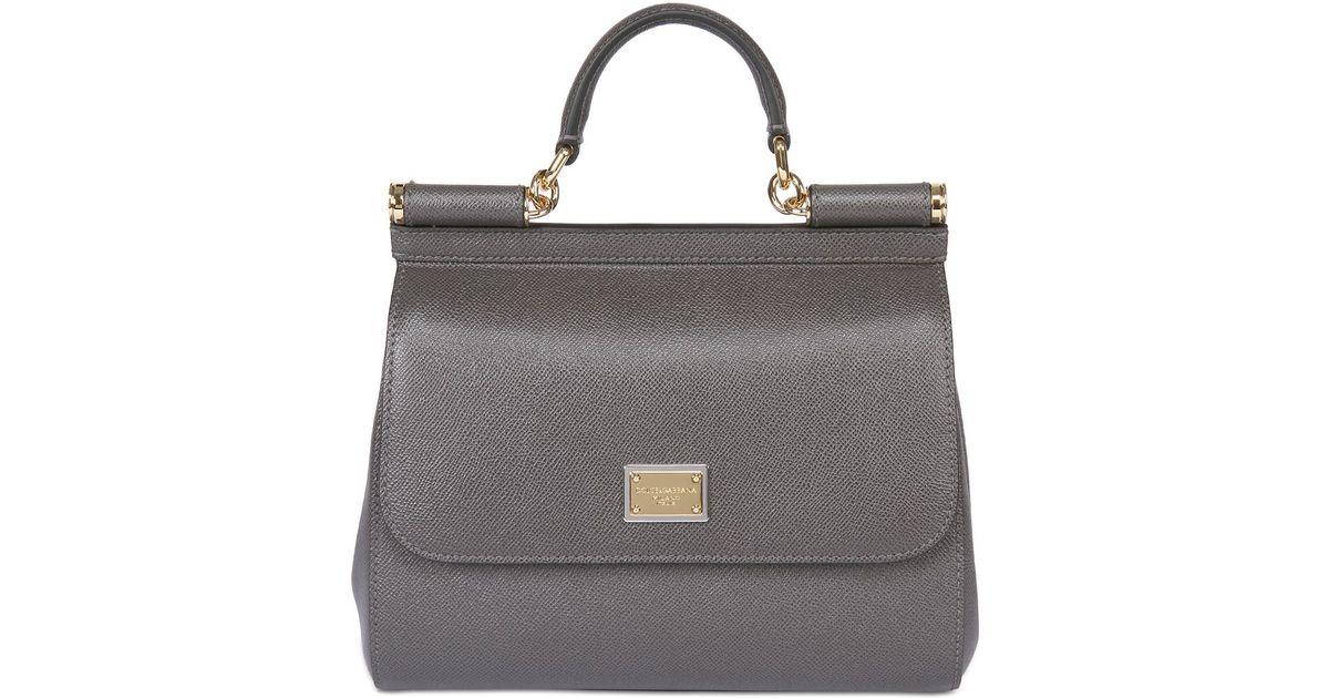 Lyst - Dolce   Gabbana Medium Sicily Dauphine Leather Bag in Gray 1b412c8239daa