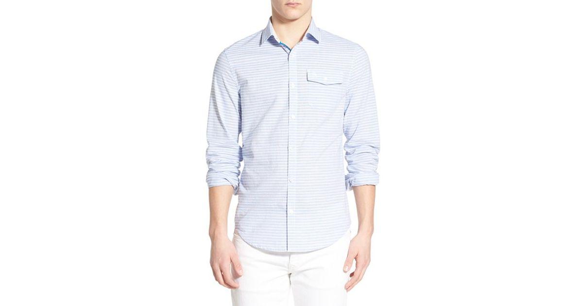 Original penguin horizontal stripe woven shirt in blue for for Horizontal striped dress shirts men